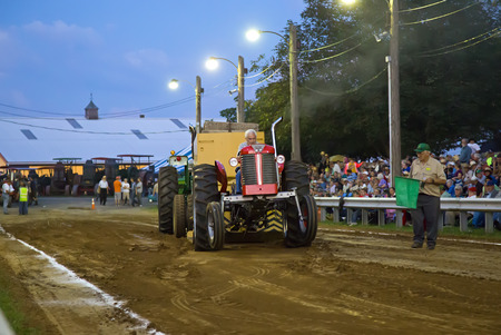 KINZERS, PENNSYLVANIA - AUGUST 14  Vintage tractor pull on August 14, 2014 in Kinzers PA  This is an event at Rough   Tumble Engineers annual Threshermen