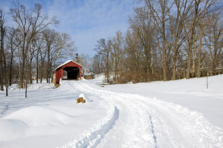 Pool Forge Covered Bridge with snow in Lancaster County,Pennsylvania, USA. Stock Photo