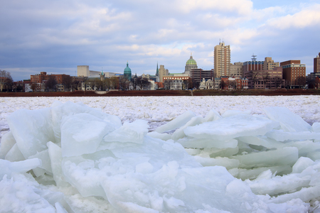 Ice breaking up on the Susquehanna River in Harrisburg, Pennsylvania, USA.