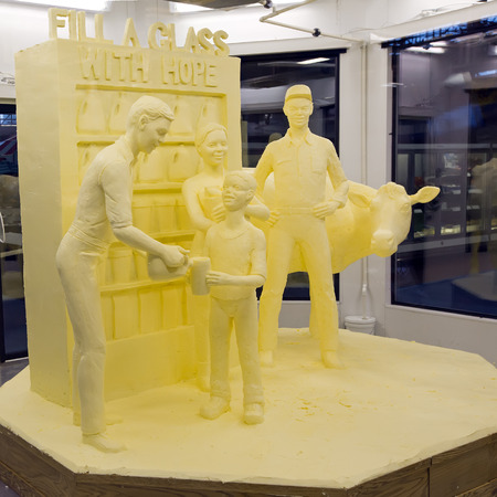 jim: HARRISBURG, PENNSYLVANIA - JANUARY 10: A butter sculpture by artist Jim Victor and Marie Pelton on display at the Farm Show Complex on January 10,2015 in Harrisburg, Pennsylvania, USA.