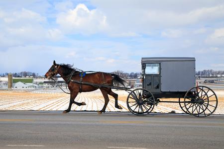 Ein Amish Carriage reist mit Schnee bedeckt ländlichen Lancaster County, Pennsylvania, USA.