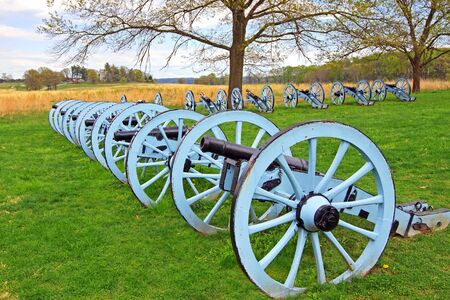 Revolutionary War cannons on display at Valley Forge National Historical Park, Pennsylvania, USA.