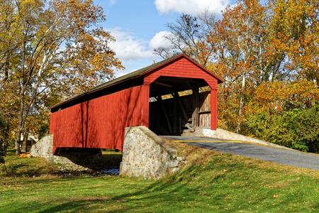 forge: Pool Forge covered bridge in Fall, Lancaster County, Pennsylvania, USA.