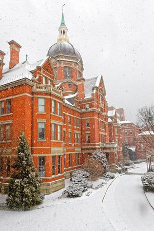 BALTIMORE, USA - FEBRUARY 15, 2016 : Snowfall at Johns Hopkins Hospital, Billings Administration Building.