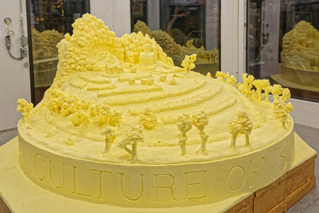 HARRISBURG, PENNSYLVANIA - JANUARY 7, 2017: A  sculpture crafted from 1,000 pounds of butter by artist Jim Victor and Marie Pelton on display at the Farm Show Complex. Editorial