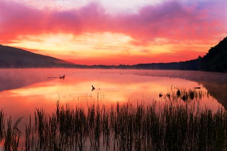A misty sunrise at Locust Lake State Park, Schuylkill County, Pennsylvania, USA.