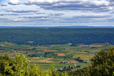 A mountain top view of farmland in the Kishacoquillas Valley of Mifflin County, Pennsylvania, United States. Stock Photo