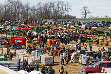 GORDONVILLE PENNSYLVANIA - March 11, 2017: Farm equipment for sale at annual spring auction `Amish Mud Sale` to benefit the Fire Company. Sale items include quilts, antiques, crafts, food, sporting goods, tools, farm equipment, and horses. 報道画像