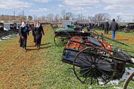 GORDONVILLE PENNSYLVANIA - March 11, 2017: Amish carriages, buggys and carts for sale at the annual spring auction `Amish Mud Sale` which benefits the Fire company.