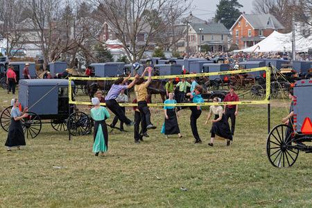 GAP PENNSYLVANIA - 25 DE MARZO DE 2017: Juventud de Amish juega voleibol en la venta anual del fango que beneficia a Gap Fire Company. Editorial