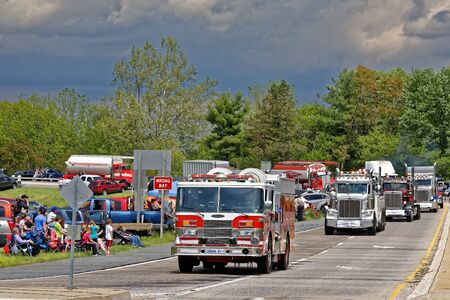 LANCASTER PA - MAY 14 2017: Make-A-Wish Foundation sets a new record for the largest truck convoy. On the Mothers Day annual fundraiser truckers grant a Lancaster County wish ride to children with life-threatening illnesses.