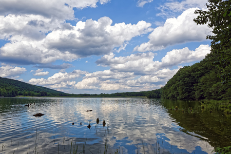 Beautiful cloud reflections at Locust Lake State Park in Schuylkill County, Pennsylvania, USA. Stock Photo