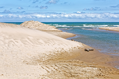 Indiana Dunes National Lakeshore is a National Park on Lake Michigans south shore. The sand dunes make this beach a popular tourist attraction in Indiana, USA. Stock Photo