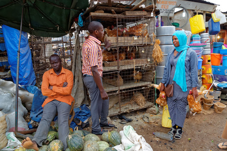 KAMPALA, UGANDA - SEPTEMBER 2, 2017: A woman buying chickens from a young man at a market. Editorial