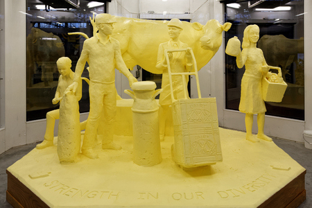 HARRISBURG PENNSYLVANIA - JANUARY 6, 2018: A sculpture crafted from 1000 pounds of butter on display at the Pennsylvania Farm Show Complex.