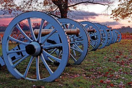 Sunrise on Revolutionary War cannons at Valley Forge National Historical Park, Pennsylvania, USA
