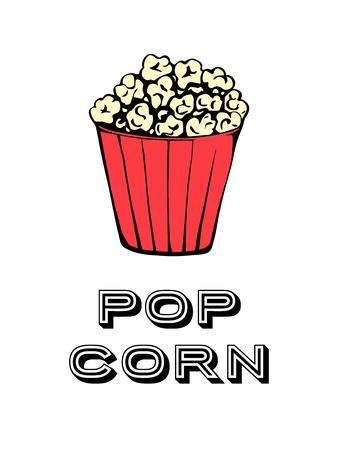Pop corn pop art poster vector illustration.