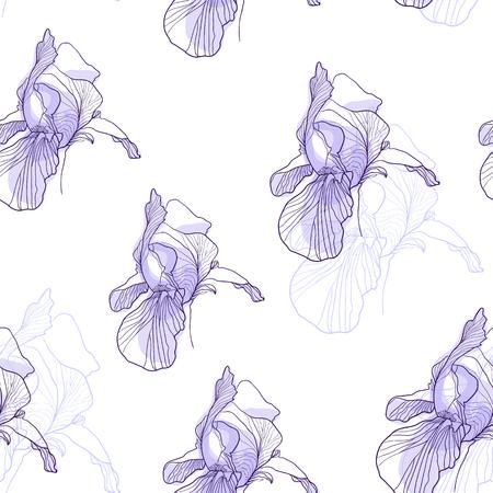 Iris flower graphic seamless pattern Vettoriali