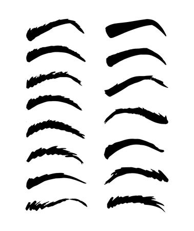 Ensemble de vecteurs de sourcils fragmentaires dessinés à la main, encre isolée