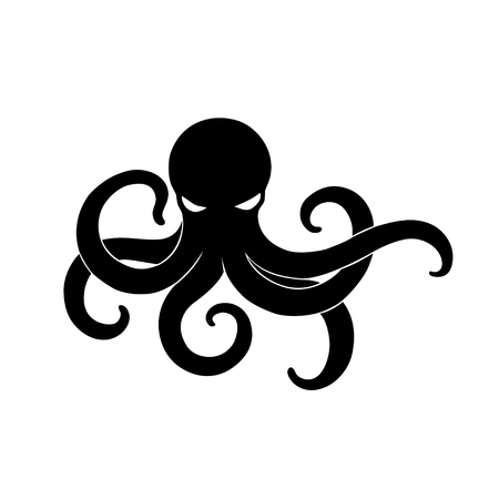 Black Angry Octopus vector illustration isolated logo