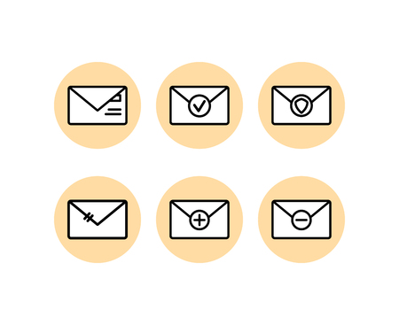 Email simple line icon set vector isolated logo Ilustrace
