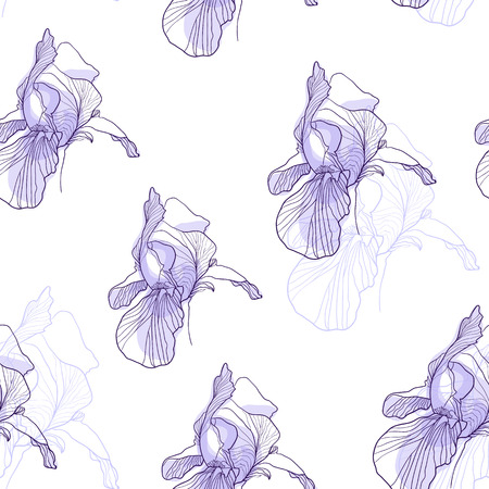 Iris flower graphic pattern violet on white background vector seamless design Ilustrace