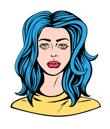 Pop art illustration portrait of a girl with blue hairs comics style vector t-shirt print design