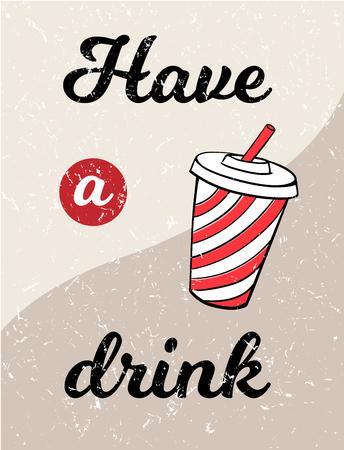 Cola typographic vintage poster vector drink