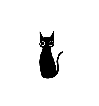 Funny minimalistic cat drawing vector illustration black