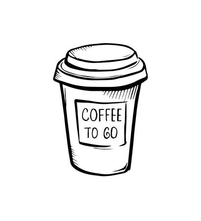 Coffee to go vector illustration sketch