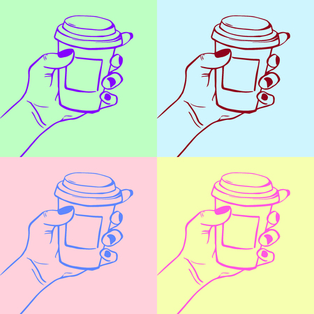Coffee cup pop art vector illustration drawn Ilustrace