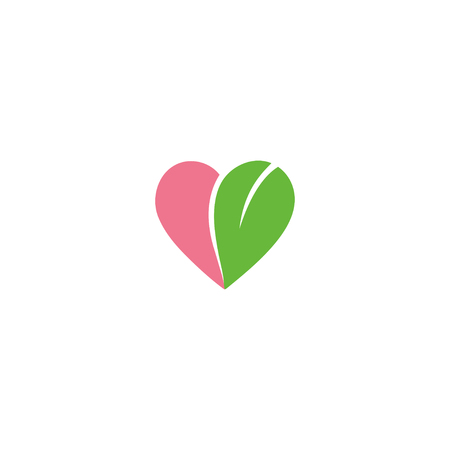 Eco friendly logo design heart shape with leaf vector icon