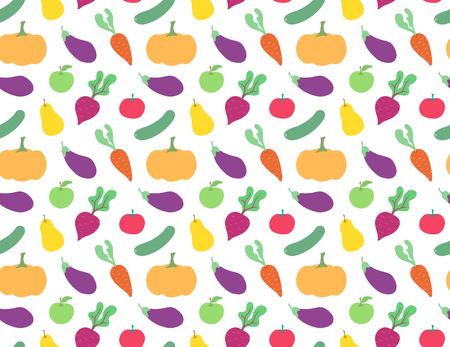Cute flat vegetables pattern on white background vector colorful Ilustrace