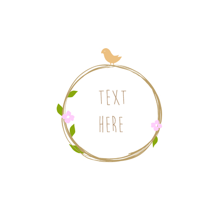 Handdrawn logo frame template circle with flowers and bird vector isolated Ilustrace