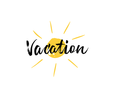 Vacation hand lettering isolated on white sun