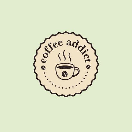Coffee addict retro badge design vector sticker