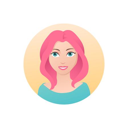 Cute smiling girl avatar logo flat vector illustration
