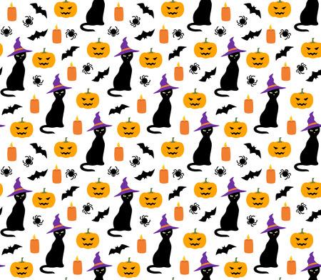 Halloween cute pattern with cat, pumpkin and bat vector seamless