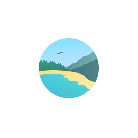 Beach landscape round logo design colorful Ilustrace