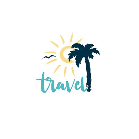 Travel logo with sun and palm tree isolated colorful
