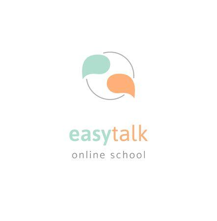 Language school flat logo design colorful Ilustrace
