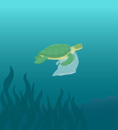 Sea turtle swimming with plastic bag vector illustration ecological poster