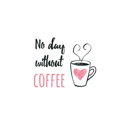 Funny coffee lettering with cup drawing print design sticker Çizim