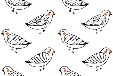 Handdrawn funny cute birds pattern vector seamless