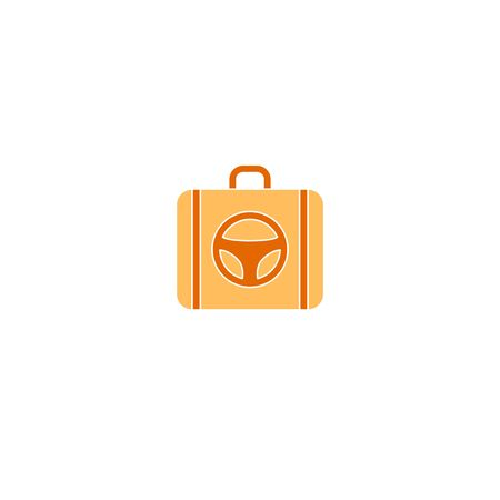 Suitcase logo with steering wheel vector travel