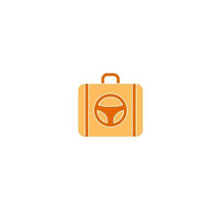 Suitcase logo with steering wheel vector travel Banco de Imagens - 132007729