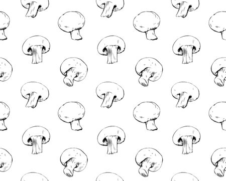 Hand drawn ink pattern with mushrooms seamless food