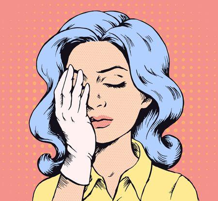 Pop-art rocznik kobieta facepalm ilustracja ręcznie rysowane