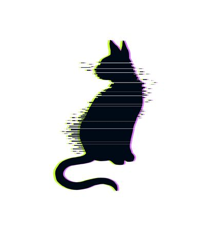 Glitch cat modern vector illustration isolated rgb vhs