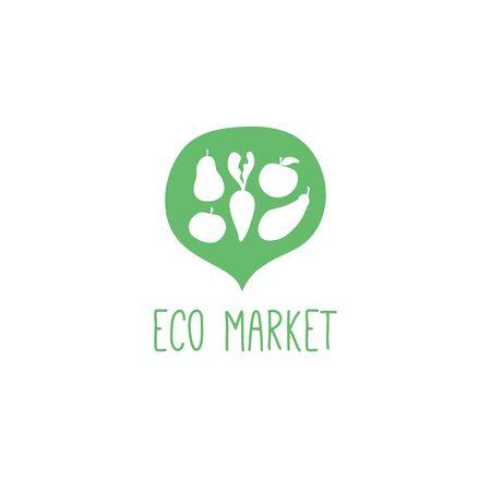 Food market flat logo design vector green Ilustrace